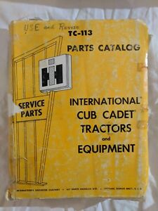 Service Parts Catalog International Harvester Tc 113 Cub Cadet Tractors 1973