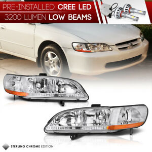 built in Led Low Beam 1998 2002 Honda Accord factory Style Headlights new
