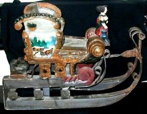 Great Old Folk Art Carved Wooden Iron Sleigh Hand Painted Woman Dogs