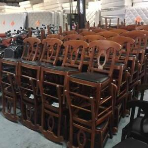 Lot Of 80 Wood Frame Restaurant Chair W Black Vinyl Seat