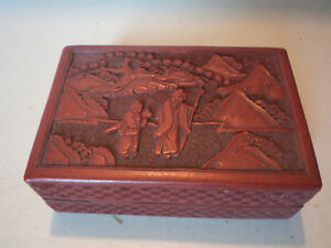 Handsome Antique Chinese Carved Cinnabar Red Lacquer Over Wood Box Lacquerware