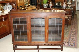 Barley Twist English Jacobean Leaded Glass Antique Bookcase Display Cabinet