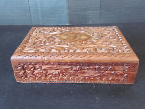 Vtg Hand Carved Exotic Teak Wood Jewelry Trinket Box W Brass Leaf Floral Inlay