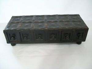 Antique Style 6 Drawer Table Top Footed Wood Chest Organizer 15 X 6 X 4