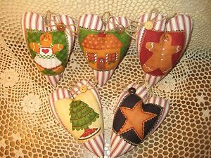 Set Of 5 Christmas Gingerbread Fabric Heart Ornaments Wreath Making Home Decor