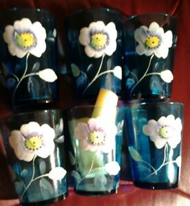 Six Antique Victorian Drinking Glass Aqua Blue Hand Painted Flowers Reduced