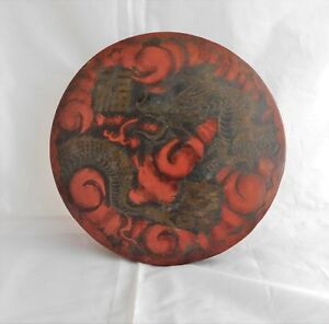Good Antique Japanese Bronze Gong With Dragon Character Seal Marks