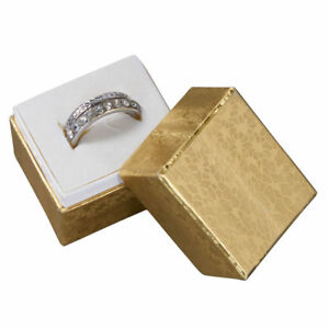 Jewelry Ring Boxes 100 Gold Foil Retail Gift Merchandise 1 X 1 X 1 Lid