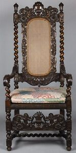 William And Mary Style Carved Walnut Arm Chair