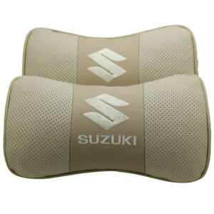 2pc Real Leather Beige Car Seat Neck Pillow Car Headrest Fit For Suzuki Car