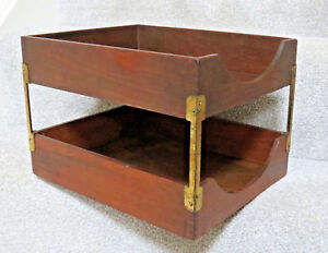 Vintage Wood Brass Double Tray Desk Organizer In out Box Letters Finger Jointed