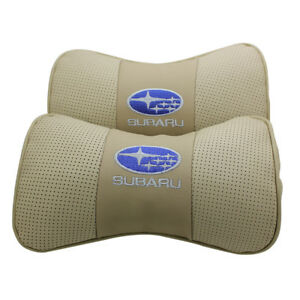 2pc Beige Real Leather Car Seat Neck Pillow Car Headrest Fit For Subaru Car