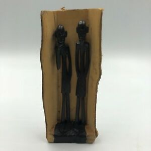 African Man Art Carved Solid Wood Bark Painting Sculpture Black Woody Folk Decor
