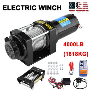 4000lb Electric Recovery Winch Atv Trailer Truck Towing 12v W Line Stopper