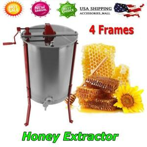 Stainless Steel 4 Frame Honey Extractor Manual Beekeeping Equipment Honey Comb S