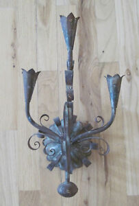 Antique Gothic Wall Sconce Candle Holder Handmade Metal