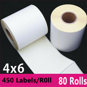 80 Rolls 4x6 Direct Thermal Address Barcode Blank Shipping Labels For Zebra 2844