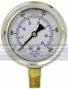 Liquid Filled Pressure Gauge 0 500 Psi 2 5 Face 1 4 Npt Lower Mount Wog