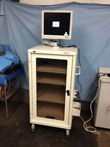 Stryker Endoscopy Tower With 19 Flat Screen Monitor 240 096 002 With 240 030 9