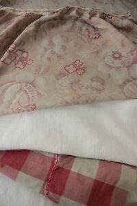 Vintage French Fabric Antique Material Project Bundle Floral Vichy Linen