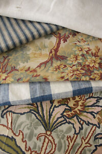 Vintage French Fabric Antique Material Project Bundle Floral Vichy Linen Ticking