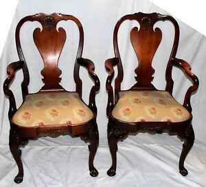 Vintage Nautical Chippendale Style Mahogany Drop Seat Armchairs Set Of Two