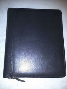 Franklin Covey Quest Black Leather 7 ring Zip Around Binder Planner