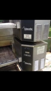 Lincoln Impinger Model 1130 Double Stack Pizza Conveyor Oven And Stainless Table