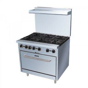 36 6 Burner Gas Commercial Range With Standard Oven
