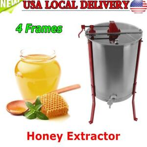 Stainless Steel Manual 4 Frames Honey Extractor Honey Centrifuge For Beekeeper S