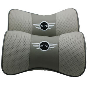 2pc Gray Real Leather Car Seat Neck Pillow Car Headrest Fit For Bmw Mini Auto