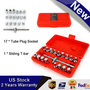 18pc Oil Drain Sump Plug Socket Key Tool Set Gearbox 3 8 Wrench Tool