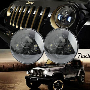 Pair Black 7 Led Projector Hi lo Beam Headlight For Jeep Wrangler Jk Lj Tj Cj