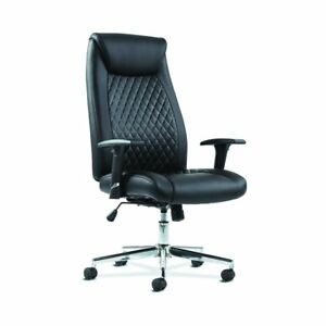 Executive Chair Height adjustable Arms Black Leather Chrome Accents