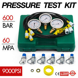 Hydraulic Pressure Test Kit With Testing Hose Coupling And Gauge New