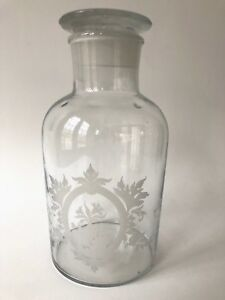 Vintage Glass Apothecary Bottle Jar W Lid Etched Embossed Frosted Floral 8 1 2