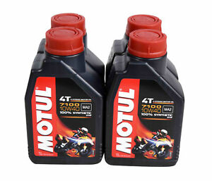 Motul 104091 4t 7100 Synthetic Ester 10w 40 4 Stroke Engine Oil 1 Liter 4 Pack