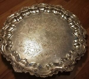 Vintage Silver Plated Copper Butler Serving Tray Wallace 17 Round 3 Footed