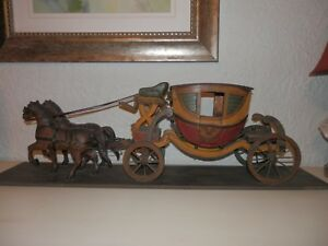 Spectacular Antique Wood Horse Drawn Carriage Horses George Washington Folk Art