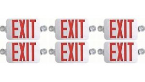 Ciata Lighting Red Exit Sign Led Emergency Light Combo 6 Pack