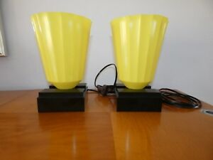 Art Deco Bakelite And Yellow Celluloid Torchiere Lamps
