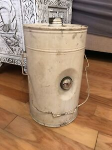 Vintage White 2 Gallon Steel Gas Can Metal With Display Guage No Spout