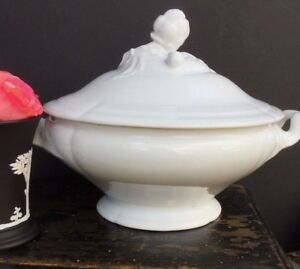 Antique French White Porcelain White Ironstone Tureen Bowl