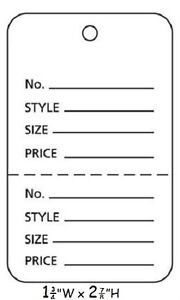 3000 Perforated Tags Price Sale Large 1 X 2 Two Part White Unstrung Tag