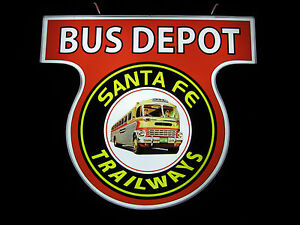 Vintage Led Lighted Sign Santa Fe Trailways Bus Depot