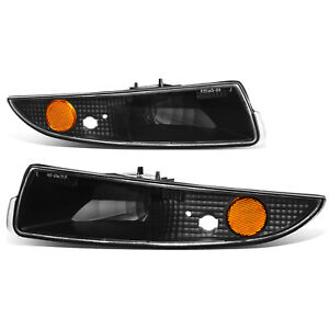 Fit 1993 2002 Chevy Camaro Black Housing Front Bumper Light Turn Signal Lamps
