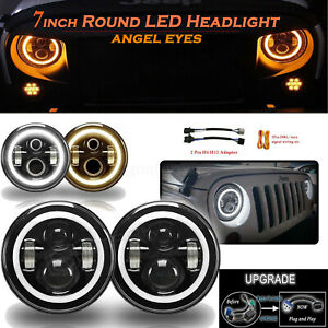 7 Inch Round Led Headlight Hi low Beam Halo Angle Eye For Jeep Patriot Liberty