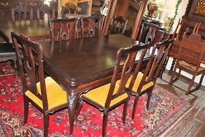 Dark Mahogany Antique Draw Leaf Table 6 Chairs Dining Room Furniture Set