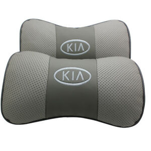 2pc Real Leather Gray Color Car Seat Neck Pillow Car Headrest Fit For Kia Car
