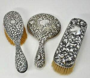 3 Piece Sterling Vanity Grooming Set Hair Brush Mirror Clothes Brush Car